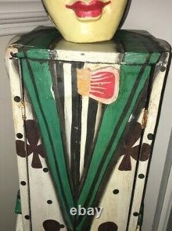 Art De Carnaval Circus Antique Circul Clown Cabinet À Main En Bois