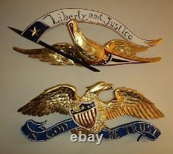 Art Folk Traditionnel Bellamy Style Aigle Américain Sculpture Sur Bois