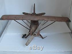 Art Grand Folk Vintage En Bois Sculpté Avion De L'air 1930 1940