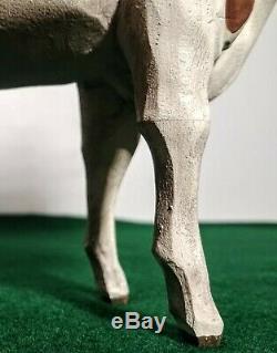 Art Populaire Ayrshire Milk Cow Larry Koosed 2007 Sculpté Et Peint À La Main