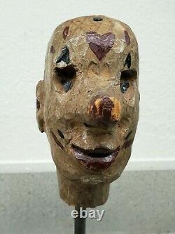 Art Populaire Du Xixe Siècle Tête De Marionnette Sculptée Et Peinte