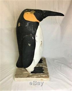 Art Populaire En Bois Sculpté Et Peint Antique Penguin