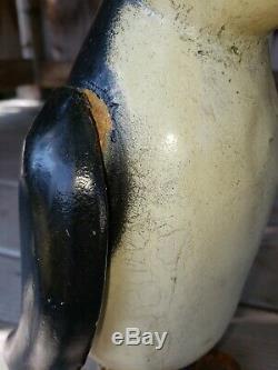 Art Populaire En Bois Sculpté Et Peint Antique Penguin Primitif 10