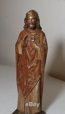 Art Populaire En Bois Sculpté Vintage Main Religieuse Jésus-christ Santos Sculpture Statue