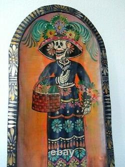 Art Populaire Mexicain Bois Sculpté Batea Dough Bowl Catrina Day Of Dead 24