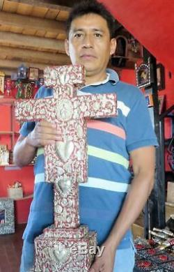 Art Populaire Mexicain Prière En Bois Sculpté Mur Coeur Milagro Charm Ex Voto 12