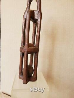 Art Populaire Sailor Whimsey Antique En Bois Sculpté Nautique Prison Patères Ou Standing