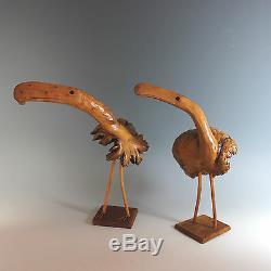 Art Populaire Sculpture Sur Bois Oiseaux, Paire Burl Bois