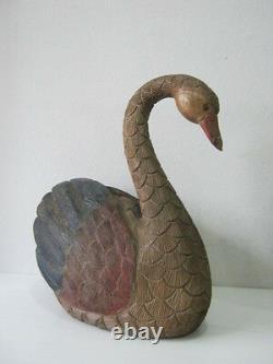 Art Populaire Vintage Grande Main Sculptée Et Oie Peinte