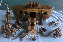Art Vintage Folk En Bois Sculpté À La Main Arche De Noé Figurines Bateau Animaux Set