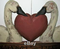 Artiste Original Williraye Sculpture Sur Bois Amis Bienvenue Mur Folk Art Plaque Signe