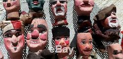 Authentique Français Puppets19th Polychromes En Bois Sculpté Folk Art Guignol Castellet