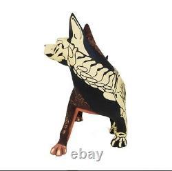 Authentique Oaxacan Alebrije Día De Muertos Masterpiece Dog Copal Wood Carving