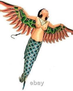 Bali Winged Flying Mermaid Mobile Spiritchaser Bois Sculpté Art Balinais 37