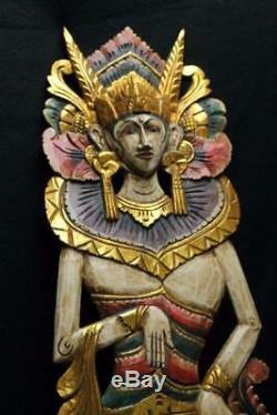 Balinais Sirène Déesse Mur Panneau De Main En Bois Sculpté Peint Folklorique Bali Art Mul