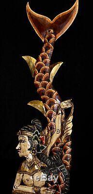 Balinais Sirène Panneau Mural Sculpture En Bois Sculpté Bali Folk Art Rouge Gauche Mul