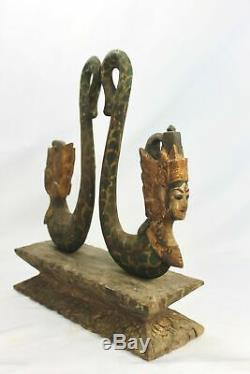 Balinais Vintage Rama Sita Mermaid Statue En Bois Sculpté À La Main Bali Folk Art Ooak
