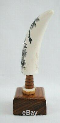 Beaux Scrimshaw Sculpté À La Main Maritime Folk Art Par Doug Beaux 4