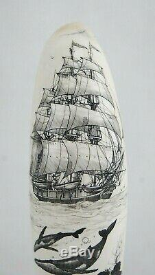 Beaux Scrimshaw Sculpté À La Main Maritime Folk Art Par Doug Beaux 5-1 / 8