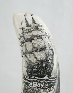 Beaux Scrimshaw Sculpté À La Main Maritime Folk Art Par Paul Sheldon'07