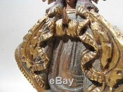 Beaux Vieux Mexicain En Bois Sculpté Santos Vierge De La Salud Signe Jj Hoez Art Folk