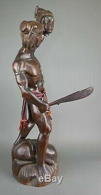 Beaux Vtg Bontoc Igorot Indigène Sculpté Bois Headhunter Statue Tribe Philippines