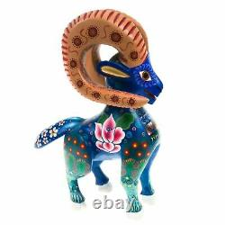 Belle Chèvre Oaxacan Alebrije Wood Carving Mexican Art Animal Sculpture Décor
