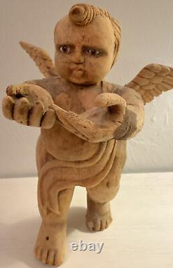 Belle Main De Cru Découpée Ange Potelé, Yeux En Verre, Art Folklorique Mexicain