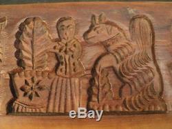 Belle Primitive Art Folk En Bois Sculpté Cookie Press