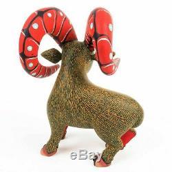 Bighorn Ram Oaxacan Alebrije Sculpture Sur Bois Art Populaire Mexicain Sculpture Décor