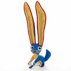 Blue Rabbit Oaxacan Alebrije Sculpture Sur Bois Peinture Mexicaine Sculpture D'art