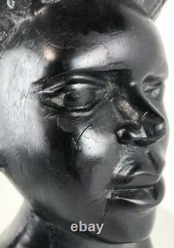 Bois D'ebène Statue Sculpture Sculpté À La Main En Afrique Du Sud Folk Art Femme & Childen