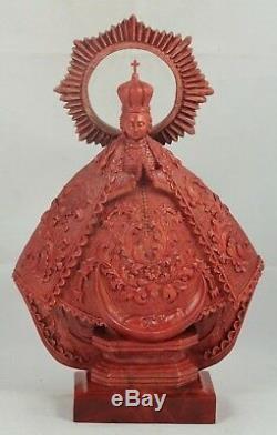 Bois Madonna / Vierge Marie Main Tooled / Carved Mexique Folk Art Nouveau Religieux Grand