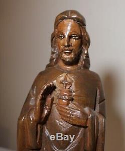 Bois Sculpté À La Main Religieuses D'époque Art Populaire Jésus-christ Santos Sculpture Statue