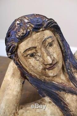 Bois Sculpté À La Main Sirène Couchée Sur L'art Populaire Side Vintage Painted Nautique