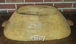 Bol Vintage Grande Pâte En Bois Americana Sculpté Art Populaire Primitif Pain Trough