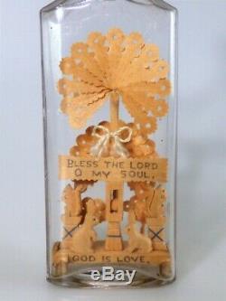 Bouteille Rare Folk Art Par Daniel Rose Dieu Est Amour Whimsey Whimsy Dans Une Bouteille