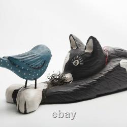 Bruce W Murphy Chat Avec Bird 1992 Sculpture Sur Bois
