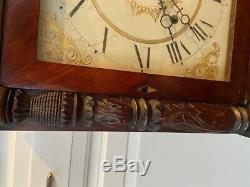 C1836 Henry Terry Plymouth Ct 8 Jours Shelf Horloge Sculpté Aigle Eli Folk Art Laiton