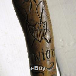 CIVIL Guerre De La Marine New Jersey Bleu Folk Art Walking Sculpté Canne Bâton 1862 Raj