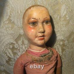 Caractère De Bois Sculpté Folk Art Doll Antique