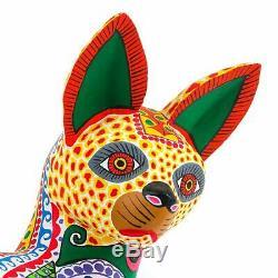 Cat Lovely Oaxacan Alebrije Sculpture Sur Bois Fine Art Populaire Mexicain Sculpture
