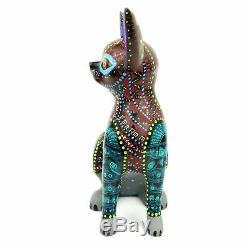 Cat Oaxacan Alebrije Sculpture Sur Bois Art Populaire Mexicain Peinture Sculpture Animalière