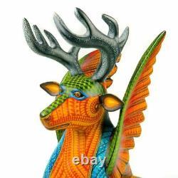 Cerfs Et Aigle Fusion Oaxacan Alebrije Sculpture Sur Bois Nestor Melchor