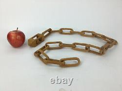 Chaîne En Bois Sculpté À La Main Boule En Cage Folk Art Tramp Art 51 Whimsy Longue