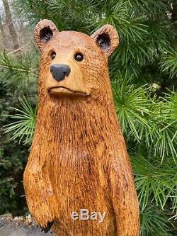 Chainsaw Sculpté Ourson Oak Statues Ours En Bois Original Lunatique Folk Oeuvre