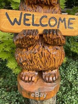 Chainsaw Sculpté Patapouf Avec Free Personnalisés Sign Mangeoire Folk Art Unique
