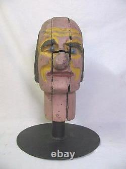 Chapeau D'art Populaire Antique Carnaval Amusement Jeu Charlie Sculpté En Bois De Tête