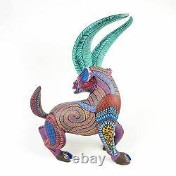 Chef-d'œuvre Chèvre Oaxaca Alebrije Sculpture Sur Bois Sculpture D'art Populaire Mexicain Sculpture