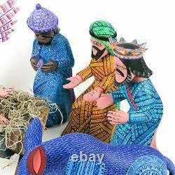 Chef-d'œuvre Nativité Scène Oaxacan Sculpture Sur Bois